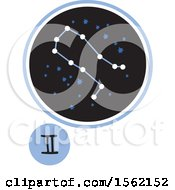 Clipart Of A Star Constellation And Gemini Zodiac Symbol Royalty Free Vector Illustration