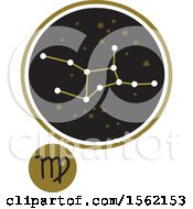 Clipart Of A Star Constellation And Virgo Zodiac Symbol Royalty Free Vector Illustration