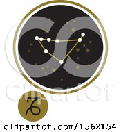 Clipart Of A Star Constellation And Capricorn Zodiac Symbol Royalty Free Vector Illustration
