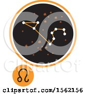 Clipart Of A Star Constellation And Leo Zodiac Symbol Royalty Free Vector Illustration