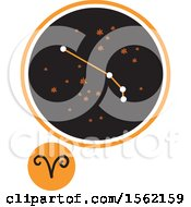 Clipart Of A Star Constellation And Aries Zodiac Symbol Royalty Free Vector Illustration
