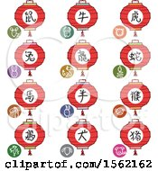 Clipart Of Lanterns And Chinese Zodiac Symbols Royalty Free Vector Illustration