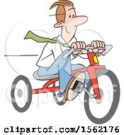 Clipart Of A Happy White Business Man Riding A Tricycle Royalty Free Vector Illustration