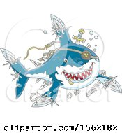 Clipart Of A Tough Pirate Shark With Blade Extensions Royalty Free Vector Illustration