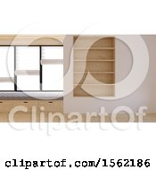 3d Empty Room Interior With Shelves And A Window Seat
