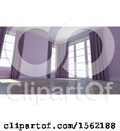 3d Purple Empty Room Interior