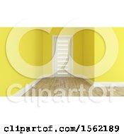 3d Yellow Empty Room Interior