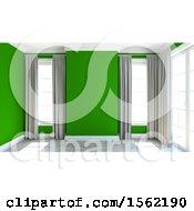 3d Green Empty Room Interior