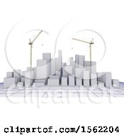 3d City On A Graph With Construction Cranes