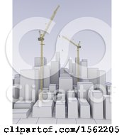 Clipart Of A 3d City On A Graph With Construction Cranes Royalty Free Illustration