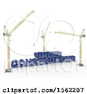 Clipart Of 3d Cranes With Under Construction Text On A White Background Royalty Free Illustration