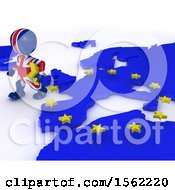 Clipart Of A 3d Union Jack Flag EU Referendum Man Walking Away From A Map On A White Background Royalty Free Illustration
