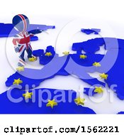 Clipart Of A 3d Union Jack Flag EU Referendum Man Over A Map On A White Background Royalty Free Illustration
