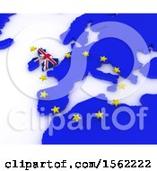 Clipart Of A 3d EU Referendum Map On A White Background Royalty Free Illustration