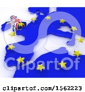 Poster, Art Print Of 3d Eu Referendum Map On A White Background
