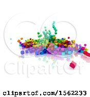 Clipart Of 3d Colorful Blocks Falling On A White Background Royalty Free Illustration