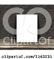 3d Blank Picture Leaning Against A Brick Wall