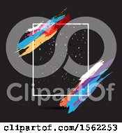 Clipart Of A Frame With Colorful Paint Strokes On Black Royalty Free Vector Illustration