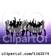 Silhouetted Group Of Party People Over Purple