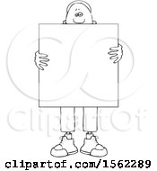 Lineart Black Man Holding A Blank Sign In Front Of His Body