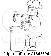 Clipart Of A Lineart Black Male Chef Seasoning Soup With A Salt Shaker Royalty Free Vector Illustration