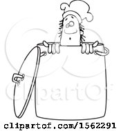 Clipart Of A Lineart Black Male Chef Peeking Out From Inside A Stock Pot Royalty Free Vector Illustration