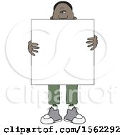 Clipart Of A Black Man Holding A Blank Sign In Front Of His Body Royalty Free Vector Illustration
