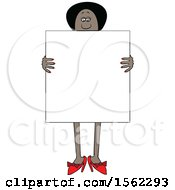 Clipart Of A Black Woman Holding A Blank Sign In Front Of Her Body Royalty Free Vector Illustration