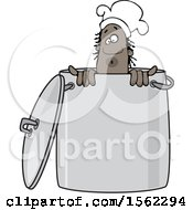 Clipart Of A Black Male Chef Peeking Out From Inside A Stock Pot Royalty Free Vector Illustration