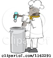 Clipart Of A Black Male Chef Seasoning Soup With A Salt Shaker Royalty Free Vector Illustration