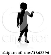 Clipart Of A Silhouetted Boy With A Reflection Or Shadow On A White Background Royalty Free Vector Illustration