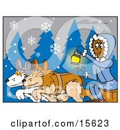 Woman Holding A Lantern While Riding A Sled Pulled By Dogs On A Snowy Winter Night Clipart Illustration by Andy Nortnik