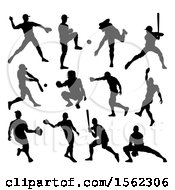 Clipart Of A Black Silhouetted Baseball Player Royalty Free Vector Illustration