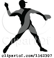 Clipart Of A Black Silhouetted Baseball Player Pitching Royalty Free Vector Illustration by AtStockIllustration