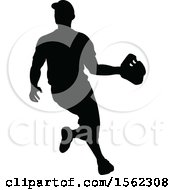 Clipart Of A Black Silhouetted Baseball Player Royalty Free Vector Illustration by AtStockIllustration