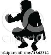 Clipart Of A Black Silhouetted Baseball Player Catcher Royalty Free Vector Illustration by AtStockIllustration