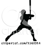 Clipart Of A Black Silhouetted Baseball Player Batting Royalty Free Vector Illustration by AtStockIllustration