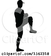 Poster, Art Print Of Black Silhouetted Baseball Player Pitching