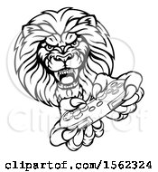 Black And White Male Lion Holding A Video Game Controller