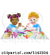 Clipart Of A Black Girl And White Boy Painting Royalty Free Vector Illustration