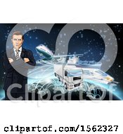 Clipart Of A Business Man Over A Globe With Cargo Logistics Trains Planes Big Rig Trucks And Ships With Illuminated Paths Over Stars Royalty Free Vector Illustration