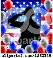 Clipart Of A Silhouetted Male Military Veteran Saluting Over An American Flag And Balloons Royalty Free Vector Illustration