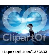 Clipart Of A Silhouetted Woman In A Pilates Yoga Pose Against A Sunrise Royalty Free Vector Illustration