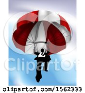 Clipart Of A Business Man Parachuting Royalty Free Vector Illustration
