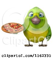 3d Green Bird Holding A Pizza On A White Background