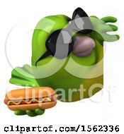 3d Green Bird Holding A Hot Dog On A White Background