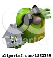 3d Green Bird Holding A House On A White Background