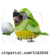 3d Green Bird Holding A Golf Ball On A White Background
