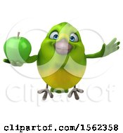 Clipart Of A 3d Green Bird Holding An Apple On A White Background Royalty Free Illustration by Julos