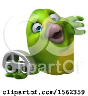 Clipart Of A 3d Green Bird Holding A Car On A White Background Royalty Free Illustration by Julos